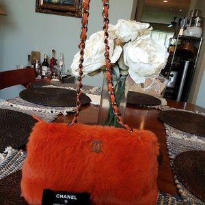 Authentic Chanel Orange Rabbit Fur Medium Handbag